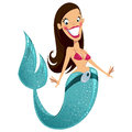 Beautiful happy smiling sexy brunette cartoon mermaid with turquoise fish tail Stock Photography