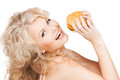 Beautiful happy woman with burger health food diet and beauty concept Royalty Free Stock Photo