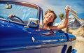Beautiful happy woman in a car Royalty Free Stock Photo