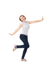 Beautiful happy woman celebrating success being a winner with dynamic energetic expression isolated on white background Royalty Free Stock Photos