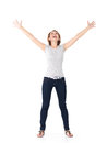 Beautiful happy woman celebrating success being a winner with dynamic energetic expression isolated on white background Stock Photo