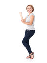 Beautiful happy woman celebrating success being a winner with dynamic energetic expression isolated on white background Stock Photography