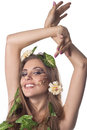 Beautiful happy woman with flowers in her hair Stock Photography
