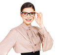 Beautiful happy woman in glasses and shirt with black skirt portrait of the young beige isolated on white background Stock Image