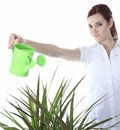 Beautiful happy woman holding watering can a isolated on white Stock Image