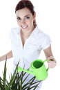 Beautiful happy woman holding watering can a isolated on white Stock Photos