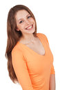 Beautiful happy woman orange blouse Stock Photo