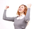 Beautiful, happy woman raised hands up, white background Stock Photos
