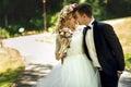 Beautiful happy young bride kissing handsome groom in sunlit par