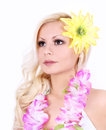 Beautiful Hawaiian girl with yellow flower on hair Stock Photo