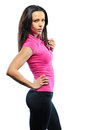 Beautiful healthy fitness woman model posing over white backgro