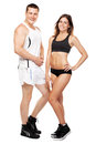 Beautiful healthy-looking couple in sports outfit Royalty Free Stock Photography