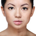 Beautiful healthy versus unhealthy skin complexion Stock Image