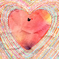 Beautiful heart background bright watercolor decorative and bird Stock Image