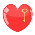Beautiful heart with key. Royalty Free Stock Image