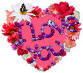 Beautiful heart with legend made of different flowers as a symbol love on white background Stock Photos