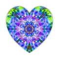 A beautiful heart made of lupine wild flowers collage. Bright mystical heart like a blue, green and voilet crystal for Valentines Royalty Free Stock Photo