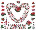 Beautiful heart made of poppies and tulips with endless border isolated on white background