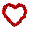 Beautiful heart made of red roses frame on white background Stock Photography