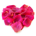 Beautiful heart of pink rose petals isolated on white Royalty Free Stock Photos