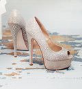 Beautiful heels vogue shoes on Royalty Free Stock Image