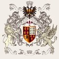 Beautiful heraldic design with shield, crown, griffin and lion Royalty Free Stock Photo
