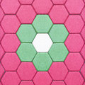 Beautiful Hexagonal brick flooring background pattern in the park Royalty Free Stock Photo