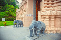 Beautiful Hindu temple in Malaysia. entrance to the sculpture of elephants