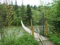 Beautiful hinged bridge across the river Prut. Royalty Free Stock Photo