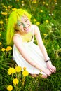 Beautiful hipster alternative young woman with yellow hair sits in grass with dandelion in park green Stock Photos