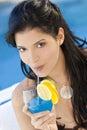 Beautiful Hispanic Latina Woman Drinking Cocktail Royalty Free Stock Photo