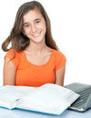 Beautiful hispanic teenage  girl studying Royalty Free Stock Photo