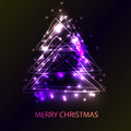 Beautiful holiday card with techno style christmas tree. Royalty Free Stock Photo