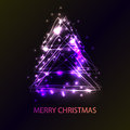 Beautiful holiday card with techno style christmas tree.   made from triangles, flashes and lights. An excellent illustration for Royalty Free Stock Photo