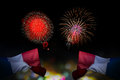 Beautiful holiday fireworks and france flag with & x28;bokek backgrou Royalty Free Stock Photo