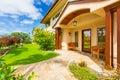 Beautiful home exterior luxury sunny blue sky Royalty Free Stock Image
