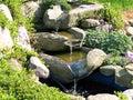 Beautiful home garden waterfall pond Royalty Free Stock Photo