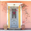 Beautiful homely house door with flowers decorative blooming red roses Stock Photos
