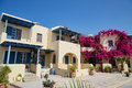 Beautiful house with bouganvillea flowers Royalty Free Stock Photo