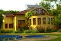 Beautiful house garden pool Royalty Free Stock Photo
