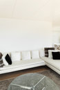 Beautiful house interiors of a modern living room white divan Stock Photos