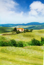 Beautiful house in Tuscany landscape, Italy Royalty Free Stock Photo