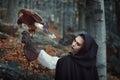Beautiful Huntress With Hawk I...