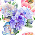 Beautiful hydrangea blue flowers watercolor illustration of seamless pattern Royalty Free Stock Photo