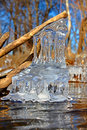 Beautiful ice formations illinois natural sculptures along the kishwaukee river in northern Royalty Free Stock Photos