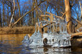 Beautiful ice formations illinois natural sculptures along the kishwaukee river in northern Stock Image