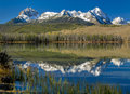 Beautiful idaho mountain lake sawtooth range of and little redfish Royalty Free Stock Images