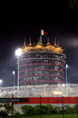 Beautiful illuminated vip tower during f night race sakhir bahrain april sakhir at bahrain international circuit on april in Royalty Free Stock Photo
