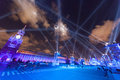 Beautiful illumination show red square moscow wideangle cityscape blue light Royalty Free Stock Photo