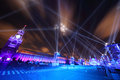 Beautiful illumination show red square moscow wideangle cityscape blue light long exposure Royalty Free Stock Photography